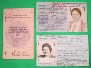 Three US Immigrant/Resident Alien cards for Canadian lady 1936-1948