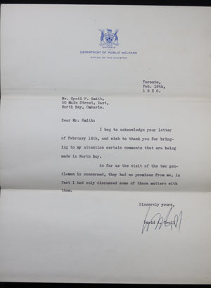 Three political letters David Croll MPP to North Bay (Ontario) 1934-38