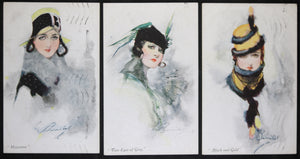 Three postcards glamorous ladies by Barribal, Vivian Mansell Co. 1923