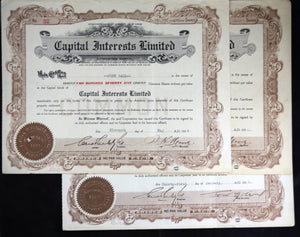 Three stock certificates 'Capital Interest Limited' 193436