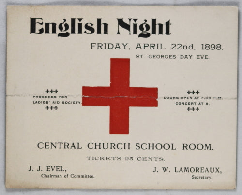 Ticket for English Night (St Georges Eve) event 1898 - Hamilton Ontario area