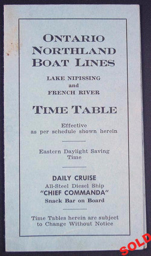 Timetable for Ontario Northland Boat Lines 1951
