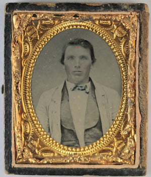 Tintype photo of young gentleman in finest suit @1860-70s
