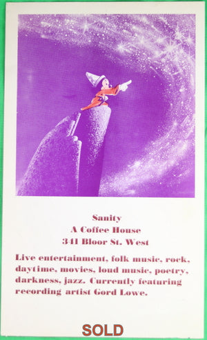 Toronto Rochdale College Coffee House advertising flyer with Mickey Mouse image (1960's-early 1970's)