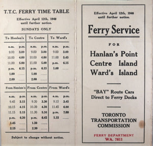 Toronto TTC Ferry Schedule to Islands (1940)