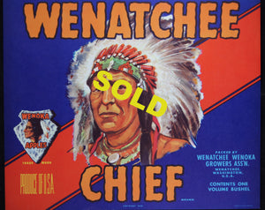 Two Wenatchee Chief fruit crate labels for Wenika Apples (USA)