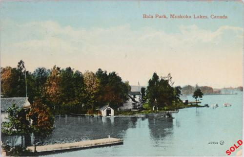 Two postcards Bala in Muskoka Lakes cottage country (Canada) c. 1910s