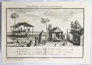 Two prints 'Negro House on the Coast of GUINEA' @1745-1747