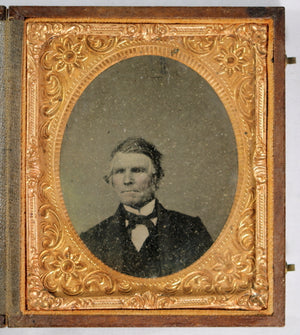 Two tintype photos of gentlemen in one case @1860-70s.