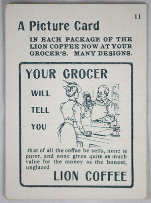 Two vintage American trade cards Lion Coffee and Butter
