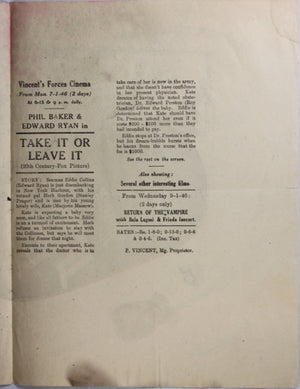 UK Movie playbill for 1944 movie 'Take it or Leave it'