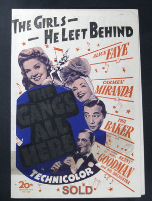 WW2 UK Movie playbill for 1943 movie using working title 'The Girls He Left Behind' (The Gang's All Here)