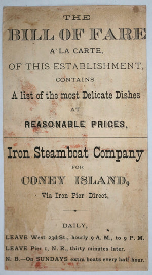 USA advertising Iron Steamboat Company, Coney Island NY c. 1880s