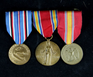 USA Set of three mounted medals (WW2 + later)