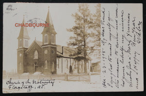 USA two photo postcards church and rectory Flagstaff AZ (1908/09)