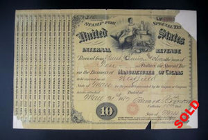 US Internal Revenue  Special Tax - Manufacturing Cigars 1879