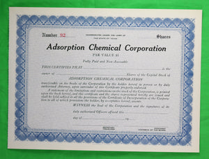 Unused stock certificate of Adsorption Chemical Corp (Texas)