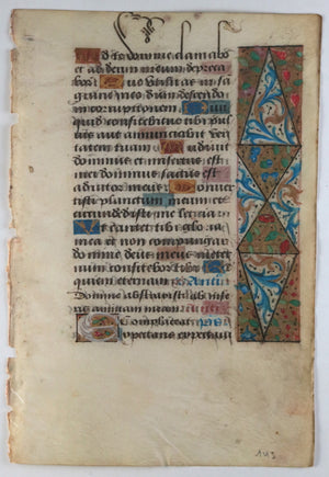 Vellum page from Latin Book of Hours, Paris ~1510 #1