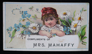 Victorian advertising card Mrs. Mahaffy Children's Dress, Toronto