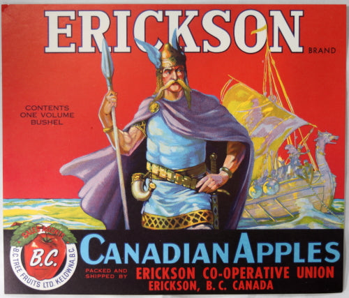 Vintage Apple Crate label for Erickson Canadian Apples, Erickson B.C