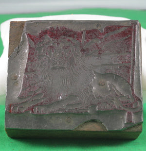 Vintage Printing block - Lion lying in front of Union Jack #1