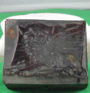 Vintage Printing block - Lion lying in front of Union Jack #2