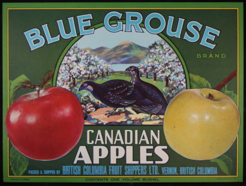 Apple crate label for Blue Grouse Canadian Apples Vernon B.C