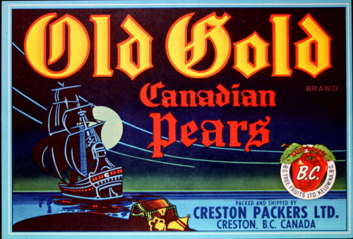 Vintage pear crate label for Old Gold Canadian Pears, Creston B.C