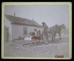 Vintage photo Mail Courier (Fort Pelly, Sask?) early 1900s