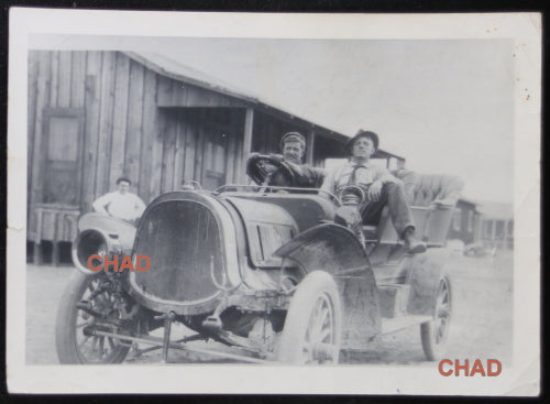 Vintage photo of two men in auto, California ~1910