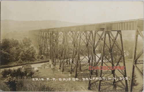 Vintage photo postcard Erie R.R. railway trestle bridge, Belfast N.Y.