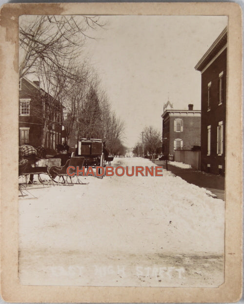 Vintage winter photo horse-drawn sleighs and wagon, small town c.1900