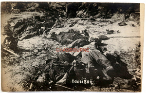 WW1 1918 photo postcard of war dead after battle of Cantigny (France)
