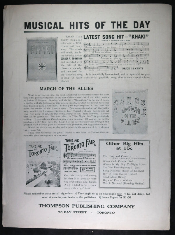 WW1 1916 Canadian patriotic song sheet 'Fly the Flag'