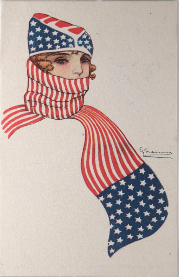 WW1 1917 USA patriotic postcard, woman in stars and stripes