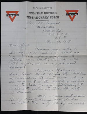 WW1 1917 letter to RFC pilot in Canada from Engineer-Sapper, UK #8