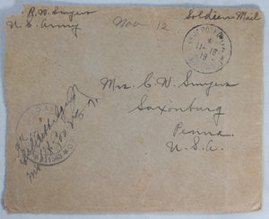 WW1 1918 France letter from U.S. soldier, Battle of Marne, camp life