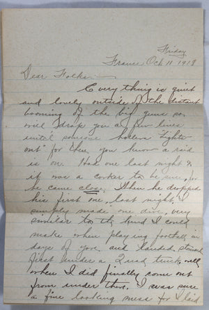 WW1 1918 letter from U.S. soldier in France describing air raid