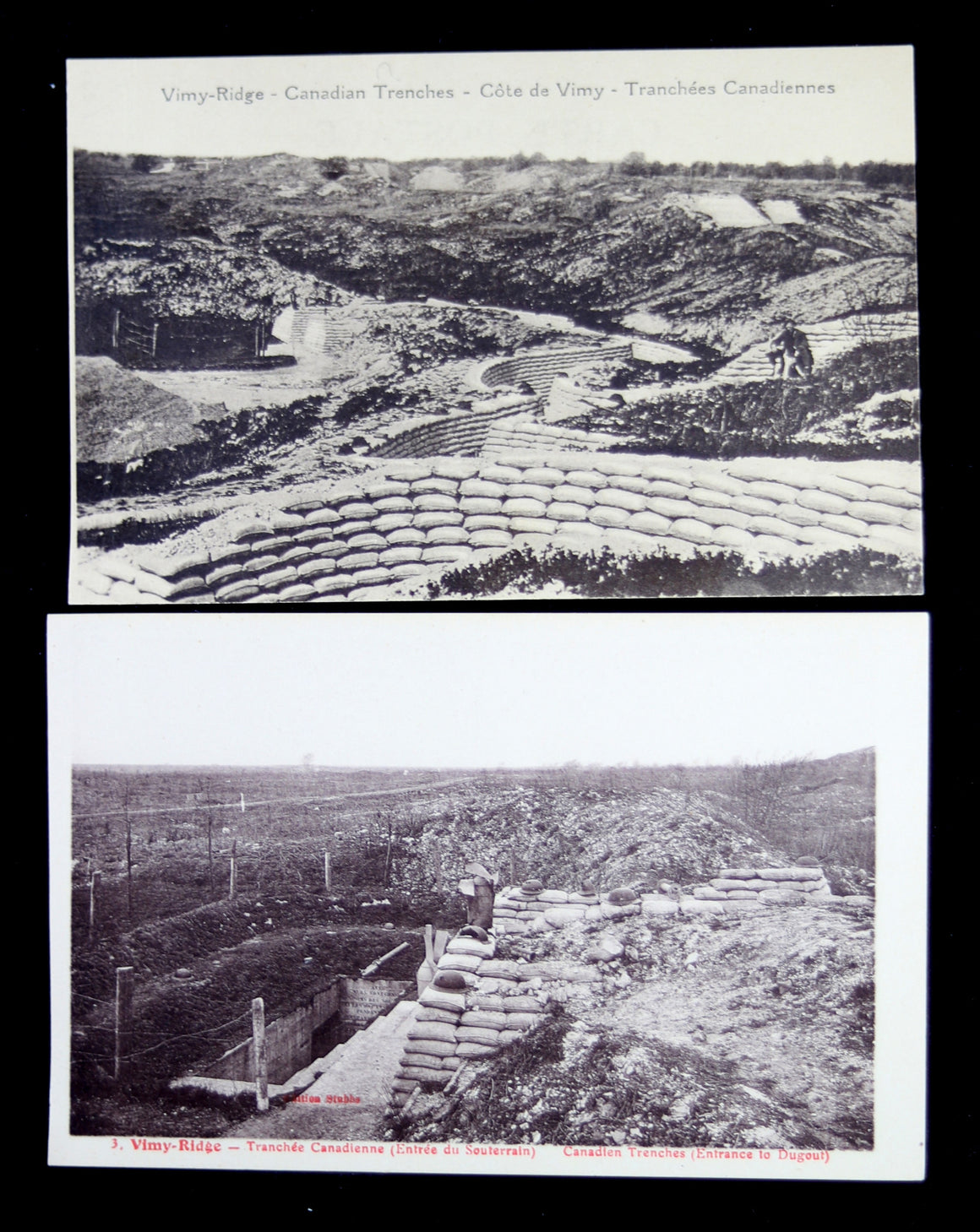 WW1 Canada - lot of 8 Vimy Ridge photo postcards