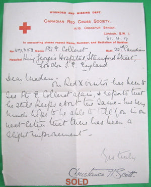 WW1 Canadian Red Cross letter about soldier wounded near Vimy Ridge - 1917