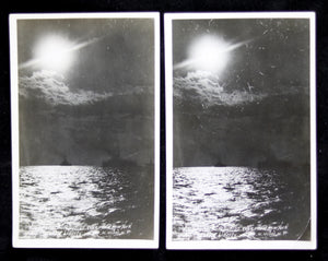 WW1 Photo postcards 'Sunset over battleships Texas and New York and Statue of Liberty' by Moser