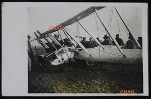 WW1 RPPC photo German soldiers around downed Birtish biplane