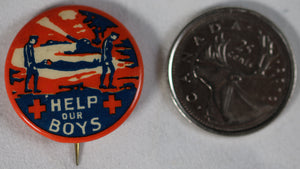 WW1 Red Cross pinback button 'Help our Boys'