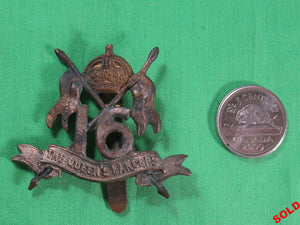 WW1 UK 16th Regiment (Queen's Lancers) cap badge