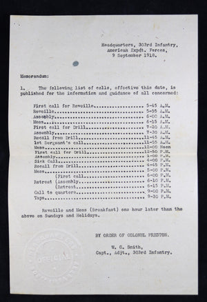 WW1 AEF USA 303rd infantry list of calls 1918