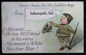 WW1 USA Patriotic postcard – Indianapolis 1918
