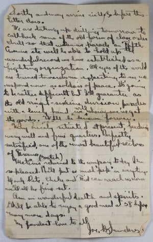 WW1 letter US soldier in AEF 103rd Reg. France, events of Nov. 11 1918