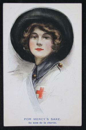 WW1 patriotic postcard with Red Cross nurse @1915