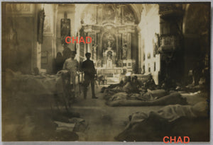 WW1 photo German field hospital inside church