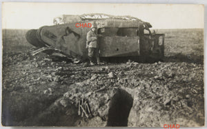 WW1 photo German soldier beside English tank Cambrai @1917